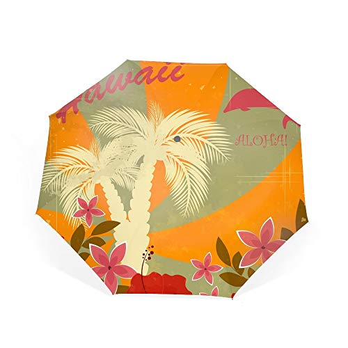 (Golf Windproof Umbrella, Compact Auto Open Close Hawaiian Flower Travel Umbrella with Double Layer Design, Sturdy UV Protection Waterproof Umbrella)