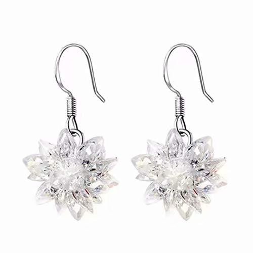 LOSOUL Dangle Earring Crystal Ice Snowflake Earring Winter Party Snowflake Pierced Hook Dangle - Pierced Ice