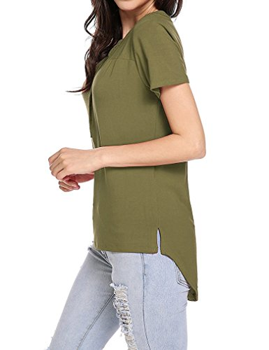 Womens Henley Sleeve V Neck Asymmetrical