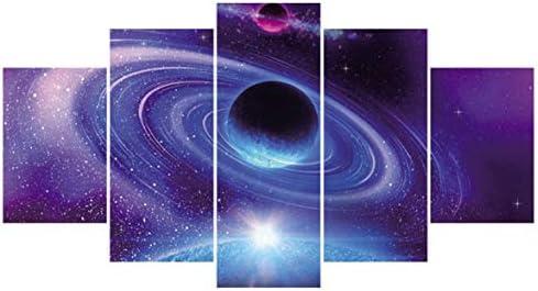 Tivollyff キャンバス絵画壁アートフレームHDプリント星空スペースポスター5ピース/セット抽象風景写真