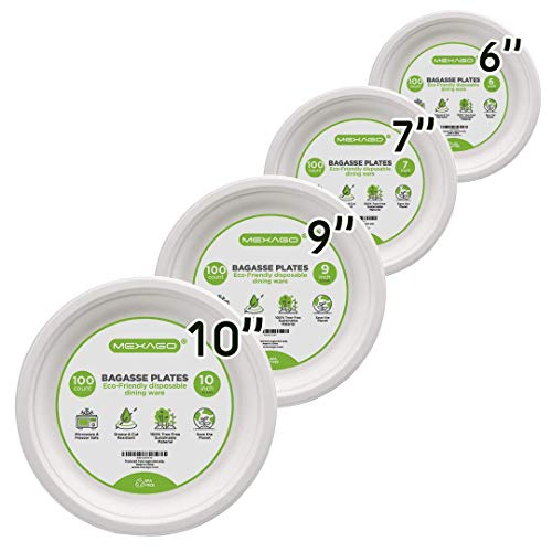 - Mexago Eco-Friendly Round Compostable Plates - 10 inch | 100 Count - Natural Alternative to Paper Plate | Made of Sugarcane Bagasse
