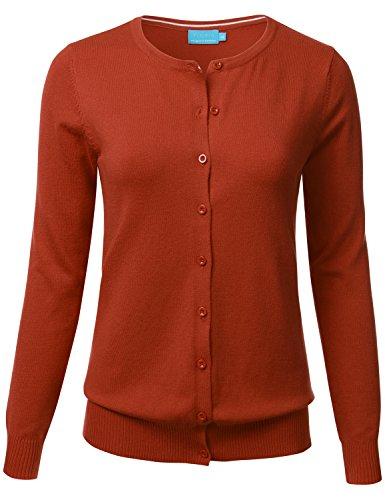 Button Up Cotton Cardigan - FLORIA Women Button Down Crew Neck Long Sleeve Soft Knit Cardigan Sweater Rust S
