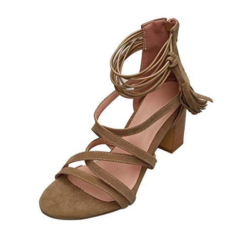 (MmNote Women Shoes, Womens Ankle-Strap Elegant Breathable Offroad Stilettos Criss Cross Sandals Shoes Khaki)