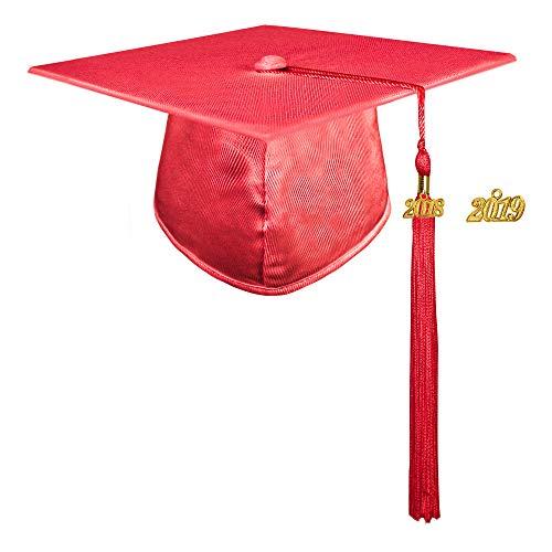 0e49cadaeb8 GraduationMall Shiny Finish Kindergarten Graduation Cap with 2018 Tassel  (2019 optional) Red