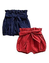 Toddler Girls Boys 2-Pack Bloomers Newborn Kids Cotton Linen Shorts Unisex Floral Ruffle Bowknot Diaper Cover