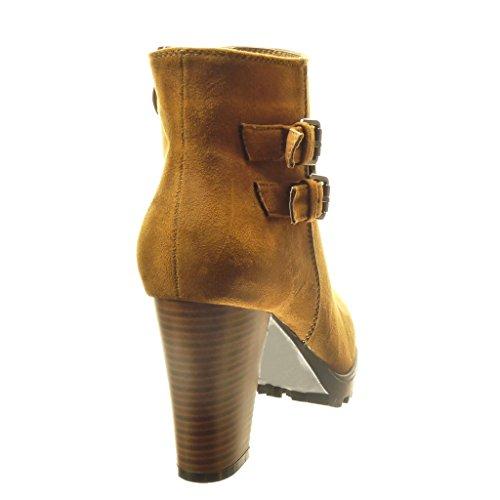 Angkorly - Zapatillas de Moda Botines botas militares mujer tachonado Hebilla Talón Tacón ancho alto 8.5 CM - plantilla Forrada de Piel - Camel