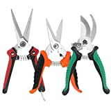 KeShi Pruner Shears Garden Cutter Clippers, Stainless Steel Sharp Pruner Secateurs, Professional Bypass Pruning Hand Tools Scissors Kit 3 PCS