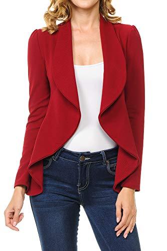 MINEFREE Women's Long Sleeve Classic Draped Open Front Lightweight Blazer Ruby - Red Blazer Ruby