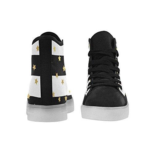 Interestprint Skallar Och Ben Lyser Upp Kvinnor Skor Blinkande Sneakers Guld Glittrande Stjärnor