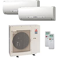 27,000 Btu 20 Seer Mitsubishi Dual Zone Ductless Mini Split - 12K-15K - Heat Pump System