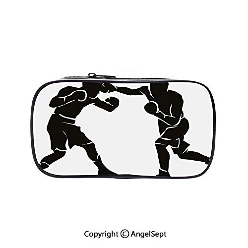 Cute Pencil Case - High Capacity,Black Silhouettes of Professional Boxers Fighters Combative Exercise Punch Attack Decorative Black White 5.1inches,Multifunction Cosmetic Makeup Bag,Perfect Holder Fo]()