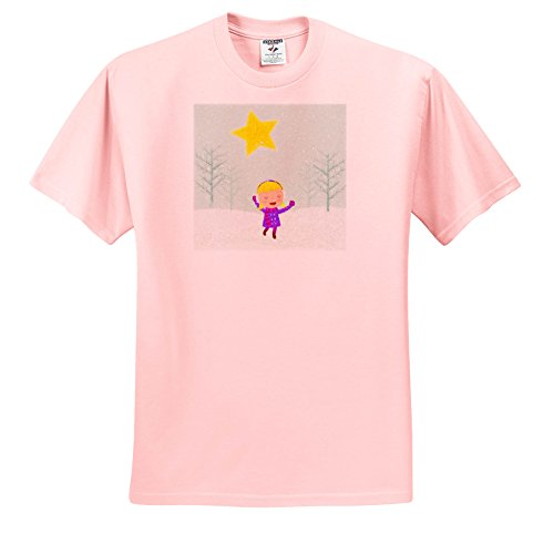 Caroling Snow (3dRose Doreen Erhardt Christmas Collection - Caroling Girl In The Snow Kids Cray Drawing Style In Pink and Purple - T-Shirts - Adult Light-Pink-T-Shirt 4XL (TS_266770_40))