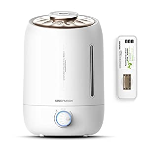 Ultrasonic Cool Mist Humidifier, Sinopuren 5L Large Capacity Filter Free Humidifiers with Essential Oil Container Anti-bacterial Whisper Quiet and Auto Shut-off for Baby Home Bedroom Office