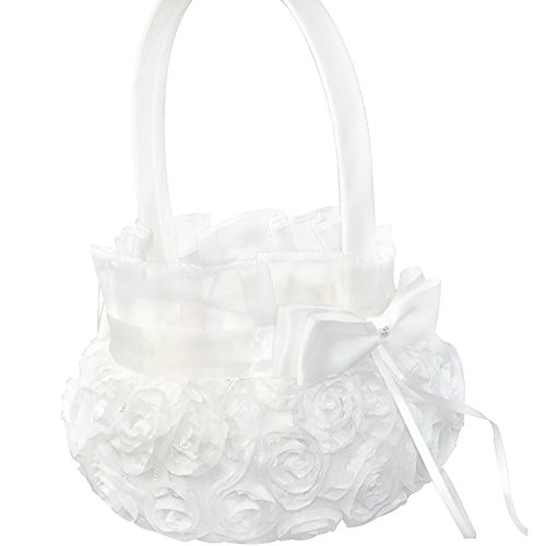 Lothver Satin Wedding Flower Girl Basket Romantic Cute Double Bow Decor Ivory ()