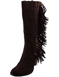 Cowgirly Womens Brown Suede Leather Fringe Fashion Boot