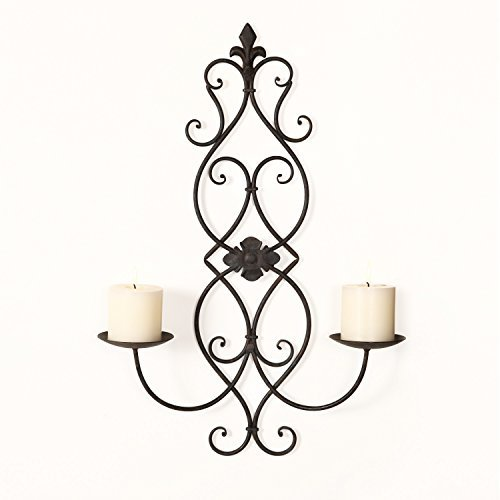 Adeco HD0007 Iron & Glass Vertical Wall Hanging Fleur De Lis & Scroll Design 2 Pillar Candle Holder Sconce Black with Antique Finish