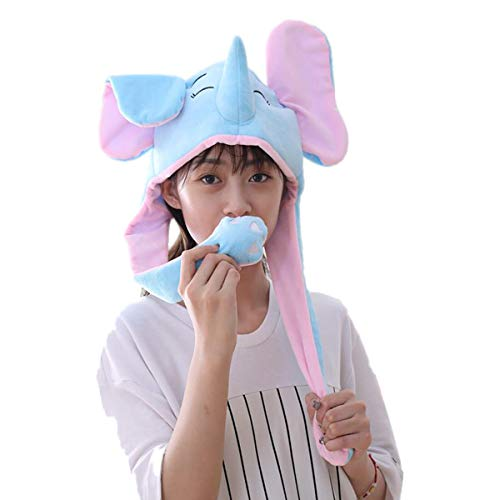 Funny Plush Elephant Hat Animal Cap with Airbag Movable Ears Mask Headpiece Clothing Costume Accessories Gift Cosplay Halloween Easter Party Birthday ()