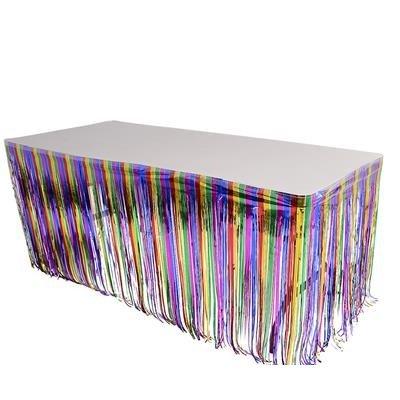 Rainbow Color Metallic Foil Fringe Table Skirt - 144