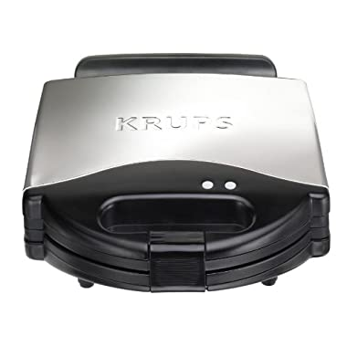 KRUPS F654 Belgian Waffle Maker with Nonstick Plates LED Indicators and Stainless Steel Housing, 4-Slices, Silver