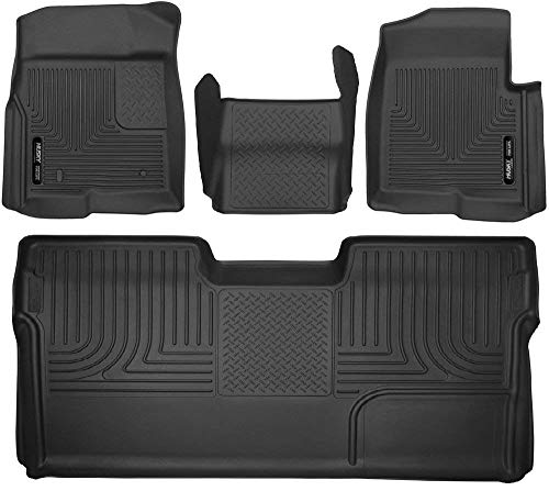 Husky Liners 53311-53391-53351 - X-Act Contour - First Row, Center Hump, and Second Row (Full Coverage under Second Row Seat) All Weather Custom Fit Floor Liners for 2009-2014 Ford F-150 SuperCrew Cab