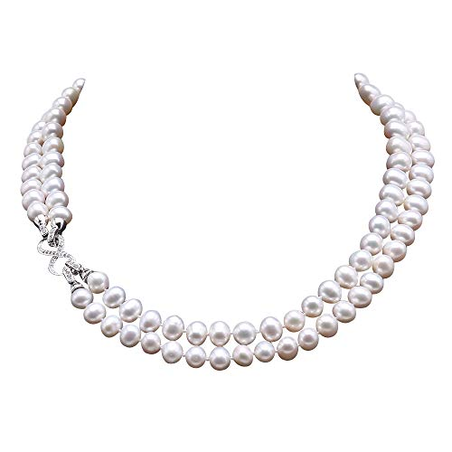 Necklace Baroque Double Strands Pearl (JYX Pearl Double Strand Necklace AA+ Qulaity 9.5-10mm Flat Round White Freshwater Pearl Necklace 18