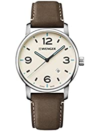 Men's 'Classic' Swiss Quartz Stainless Steel and Leather Casual Watch, Color:Brown (Model: 01.1741.118)