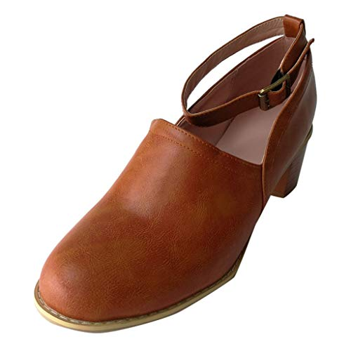 (Women Ladies Low mid Block Heel Close Toe Buckle Ankle Strap Beach Roman Shoes Casual Clogs Boot Party Prom Shoes Brown)