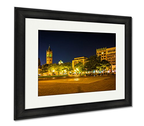 Ashley Framed Prints Copley Square At Night In Boston Massachusetts, Wall Art Home Decoration, Color, 26x30 (frame size), Black Frame, - At Copley Shops