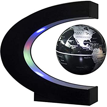 Gold by Woodlev Floating Globe 3 C Shape Magnetic Levitation Floating Globe World Map with Colored LED Light Anti Gravity Globe for Children Gift Home Office Desk Decoration