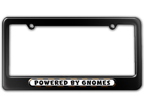 Graphics and More Powered by Gnomes License Plate Tag Frame