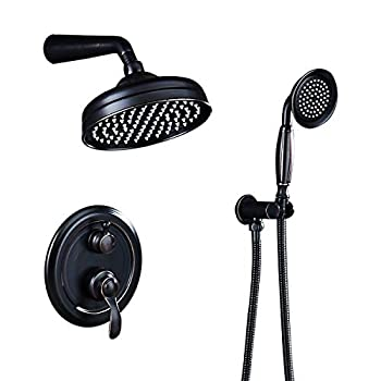 Image of AUKTOPT Rainfall Shower Head System with Handshower Bathroom Luxury Rain Mixer Combo Set, Oil Rubbed Bronze(Contain Faucet Rough-in Valve), B, Home Improvements
