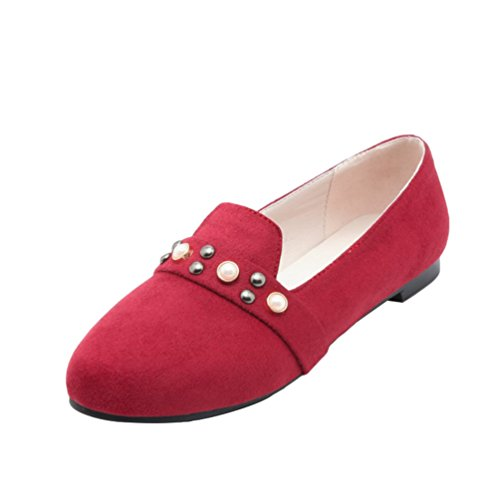 YOUJIA Womens Beaded Faux Suede Round-Toe Slip On Flaty Pumps Dolly Comfort Walk Shoes Red JTkBT2QR