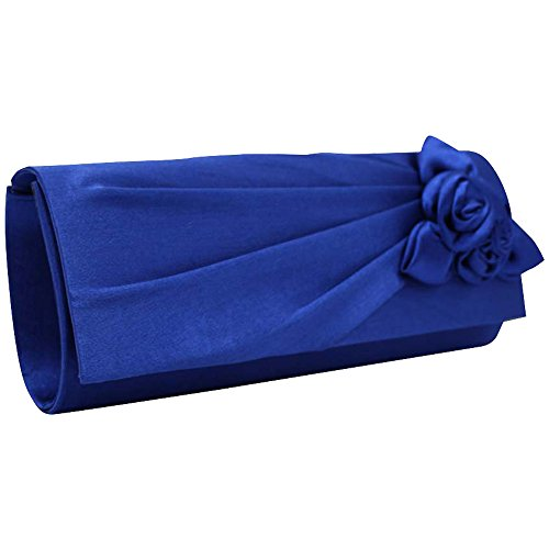 New Party Post Flower Ladies Envelope Clutch UK Amazing Royal Brand Satin Wedding Handbag Evening Blue Wocharm Floral Bag Prom qwxEzfa