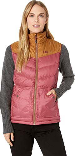 Outdoor Research Women's Transcendent Down Vest, Garnet/Saddle, Large