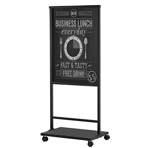 Black Double-Sided Rolling Chalkboard Stand, Commercial Message Board & Signage Display ()