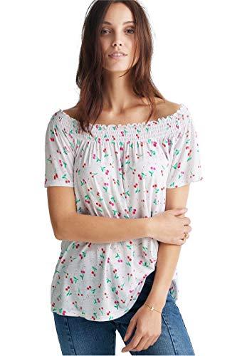 Ellos Women's Plus Size Smocked Neck Tee - White Cherries Print, 18/20 -