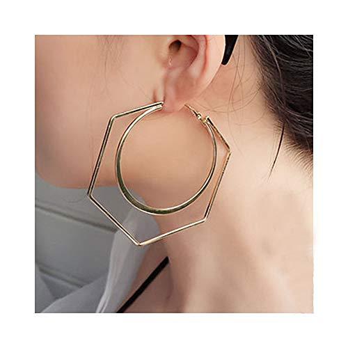Big Double Hoop Earrings Geometric Round Circle Hexagonal Dangle Earrings for Women Fashion Jewelry (Double Charm Hoop)