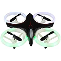 Owill Mini Drone 2.4Ghz 4CH 6-Axis Gyro UFO RC Quadcopter Headless LED Attitude Hold Glaring Flying Toy (Black)