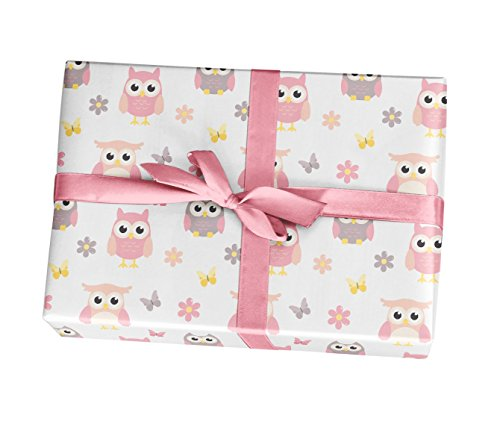 Owl baby shower wrapping paper sheets - 10 pack of 11x17'' sheets - For girl birthday party, baby shower, supplies, decorations - Made in the USA by Custom Party Decorations