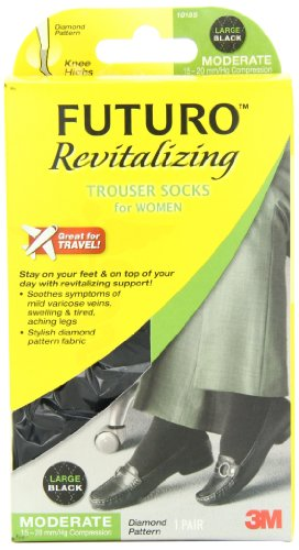 UPC 051131191853, Futuro TM Revitalizing Trouser Socks for Women, Black Diamond Pattern, Large, Moderate (15-20 mm/Hg)