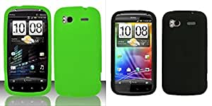 Combo pack Neon Green Silicon Case for HTC HTC Sensation 4G And Solid Skin Cover (Black) for HTC Sensation 4G