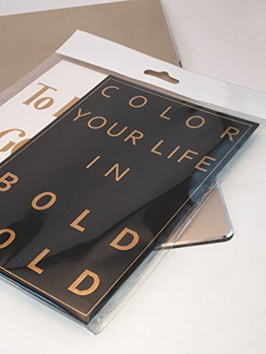 "Gold Foil Embossed Print Posters ""Color Your Life in BoldGold""""To Do List: GoodThings"" Inspirational Wall Art Poster & Office Decor Desk Decor (2)4×6 Black White and Gold Decor & Chic Desk Accessories"