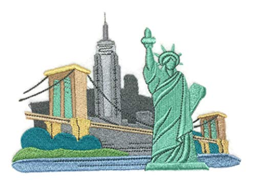A 'Round The World City Square - New York Embroidered Iron on/Sew Patch [6.17