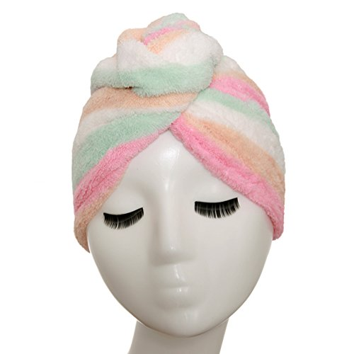 YYXR Microfiber Hair Drying Towel Ultra Absorbent Twist Hair Turban Drying Cap Hair Wrap (Rainbow)
