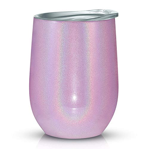 Vantic Wine Tumbler 12 oz Stainless Steel Stemless Rainbow Glass, | | Double Wall Vacuum Insulated Perfect for Home Outdoor, Purple