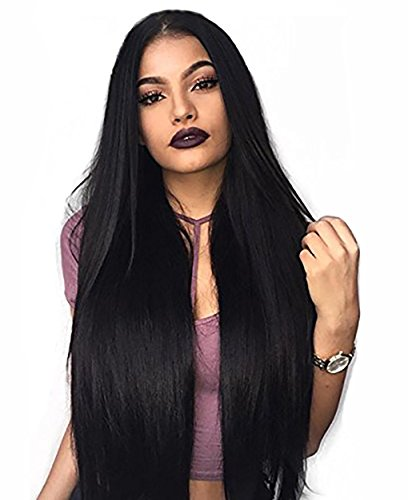 SHANGKE HAIR Long Straight Middle Part Blac…