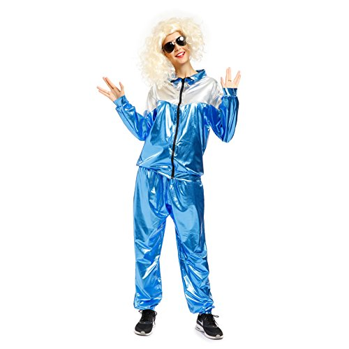 80s Fancy Dress Mens Costumes (1980s Mens Metallic Shell Suit Tracksuit Scouser Fancy Dress Costume (Large))
