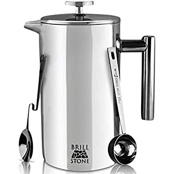 Brill Stone French Press Coffee & Tea Maker Complete Bundle (34 Oz – 1 Liter) 4 Items – Double Wall Stainless Steel French Press, Serving Scoop, Dessert Spoon & 4 Ultra-Fine Filter Screens