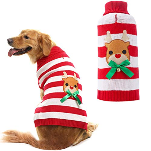 - Orangexcel Dog Knitted Sweater Cute Reindeer Xmas Holiday for Puppy Pet Large
