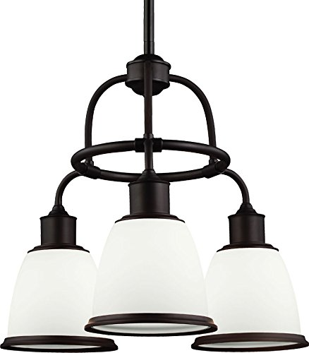 Feiss F3018/3ORB Hobson Chandeliers Lighting, Opal Etched Glass, Oil-Rubbed Bronze